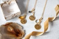 Libra Zodiac Pendant Necklace: Gold and Sapphire